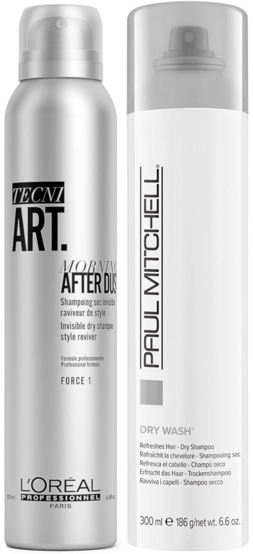 Suchý šampon pro jemné vlasy Paul Mitchell Dry Wash® - 300 ml a suchý šampon Loréal Tecni. Art Morning After Dust - 200 ml